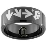 10mm Black Beveled Tungsten Carbide Street Fighter Design