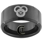 10mm Black Beveled Tungsten Carbide Laser Design