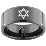 10mm Black Beveled Tungsten Carbide David's Star Design