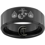 10mm Black Beveled Tungsten Carbide Marines Staff Sergeant Design.