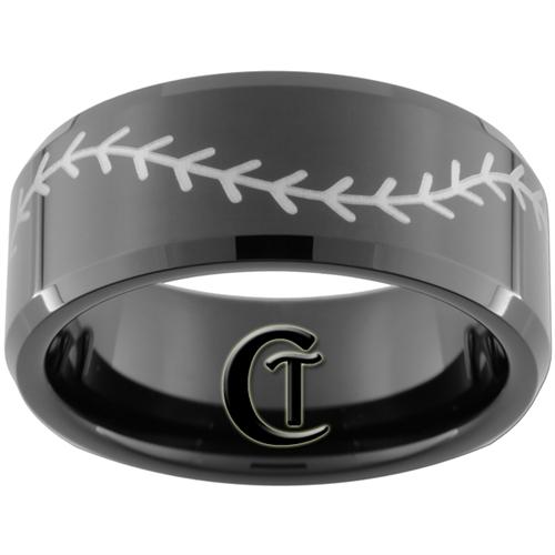 10mm Black Beveled Tungsten Carbide Baseball Stitch Design