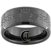 10mm Black Beveled Tungsten Carbide Claddagh Celtic Design