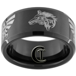 10mm Black Beveled Tungsten Carbide Zelda Twilight Princess Design