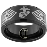 10mm Black Beveled Tungsten Carbide Marines Master Gunnery Sergeant Design.