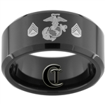 10mm Black Beveled Tungsten Carbide Marines Eagle Globe and Anchor & Sergeant Design Ring.
