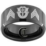 10mm Black Beveled Tungsten Carbide Army Special Forces Sargeant Design