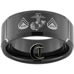 10mm Black Beveled Tungsten Carbide Marines Corporal Design.