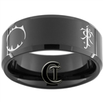 10mm Black Beveled Tungsten Carbide Geek Fandoms Design