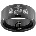 10mm Black Beveled Tungsten Carbide Marines Eagle Globe and Anchor & Gunnery Sergeant Design Ring.