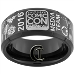 10mm Black Beveled Tungsten Carbide 2016 Salt Lake Comic Con Media Team Ring