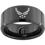 10mm Black Beveled Tungsten Carbide Air Force Logo Design.