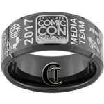 10mm Black Beveled Tungsten Carbide 2017 Salt Lake Comic Con Media Team Ring