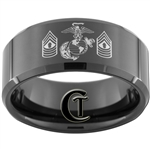 10mm Black Beveled Tungsten Carbide Marines Eagle Globe and Anchor & Master Gunnery Sergeant Design Ring.