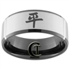 10mm Black Beveled Tungsten Carbide Satin Center Kanji Peace Design