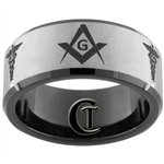 10mm Black Beveled Tungsten Carbide Satin Center Master Mason And Medical Caduceus Design