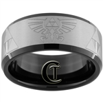 10mm Black Beveled Tungsten Carbide Zelda Laser Design