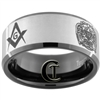 10mm Black Beveled Tungsten Carbide Satin Center Masonic Design