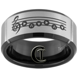 10mm Black Beveled Tungsten Carbide Zelda Song of Time and 8-Bit Hearts Laser Design