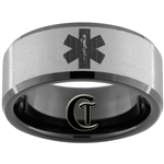 10mm Black Beveled Tungsten Carbide Stone Medical Alert Design