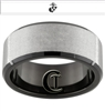 10mm Black Beveled Tungsten Carbide Stone Finished Marines Design.