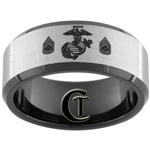 10mm Black Beveled Tungsten Carbide Stone Center Eagle Globe and Anchor Gunnery Sergeant Rank Design Ring.