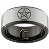 10mm Black Beveled Tungsten Carbide Stone Finish Wicca Star Symbol Design Ring.