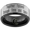 10mm Black Beveled Tungsten Carbide Stone Finish Doctor Who Design