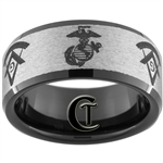 10mm Black Beveled Tungsten Carbide Stone Finished Marines & Masonic Ring Design.