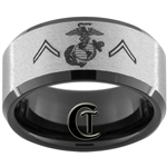 10mm Black Beveled Tungsten Carbide Stone Center Marines Private Rank Design.