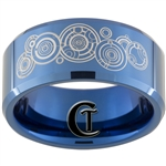 10mm Blue Beveled Tungsten Carbide Doctor Who Design
