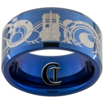 10mm Blue Beveled Tungsten Carbide Doctor Who Tardis & Gallifreyan Design