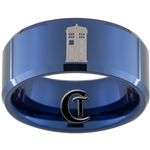10mm Blue Beveled Tungsten Carbide Doctor Who Tardis and Quote Design
