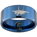 10mm Blue Beveled Tungsten Carbide Air Force Jet Fighter Design Ring.