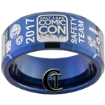 10mm Blue Beveled Tungsten Carbide 2017 Salt Lake Comic Con Safety Team Ring