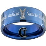 10mm Blue Beveled Tungsten Carbide Religious St. Michael Design Ring.