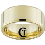 10mm Gold Beveled Tungsten Carbide