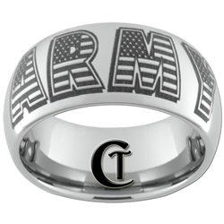 10mm Dome Tungsten Carbide ARMY American Flag Design Ring.