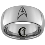 10mm Dome Tungsten Carbide Star Trek Design