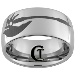10mm Dome Tungsten Carbide Warhammer Ax Design Ring.