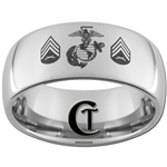 10mm Dome Tungsten Carbide Marines Sergeant Rank Design.