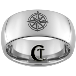 10mm Dome Tungsten Carbide Compass Rose Design Ring.