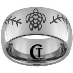 10mm Dome Tungsten Carbide Baseball Turtle Design