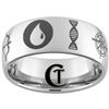 10mm Dome Tungsten Carbide Custom Symbols Design Ring.