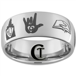 10mm Dome Tungsten Carbide Custom LDS Religious Symbols Design Ring.
