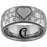 10mm Dome Tungsten Carbide Puzzle Heart Design