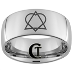 10mm Dome Tungsten Carbide Adoption Symbol Design Ring.