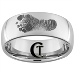 10mm Dome Tungsten Carbide Baby Footprints Design Ring.