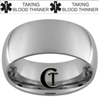 Build Your Own Custom 10mm Dome Tungsten Carbide Paramedic Medical Alert Text Design