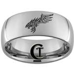 10mm Dome Tungsten Carbide Tiger Hawk Design Ring.