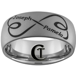 Build Your Own Custom 10mm Dome Tungsten Carbide Diamond Matte Finish Infinity Names Design Ring